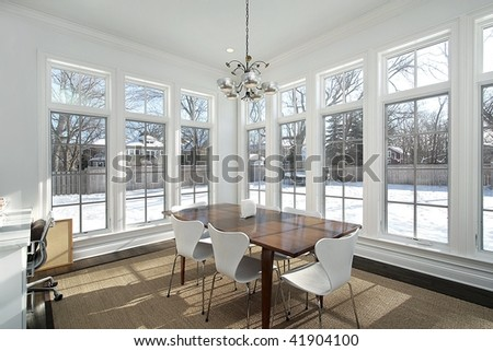 Eating area with wall of windows