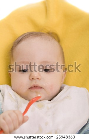 Eating baby on a white background
