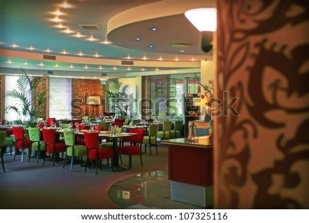 eating hall by evening cafe - stock photo