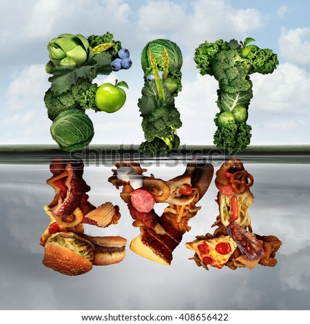 Eating lifestyle change concept fat or fit as a group healthy green fruits and vegetables reflecting greasy unhealthy food  as an icon for diabetes or diabetic diets with 3D illustration elements. - stock photo