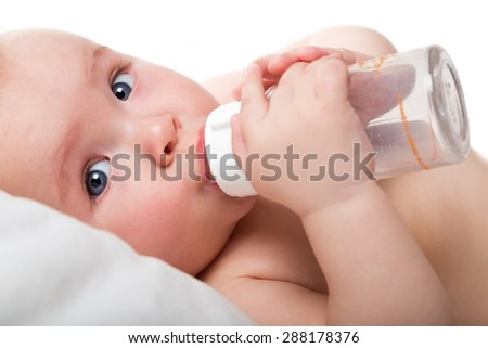 Eating, milk, water. - stock photo