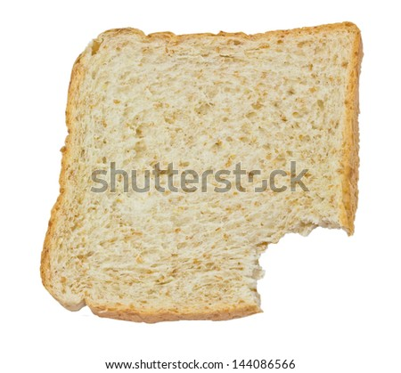 eating slices of bread on a white background - stock photo