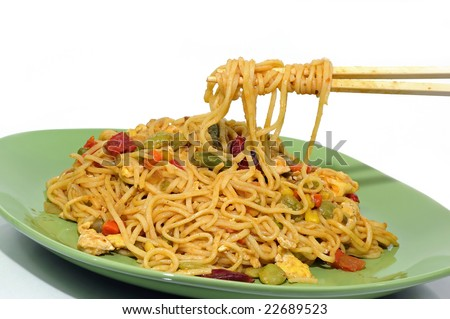 eating spicy chinese noodles with a pair of chopsticks