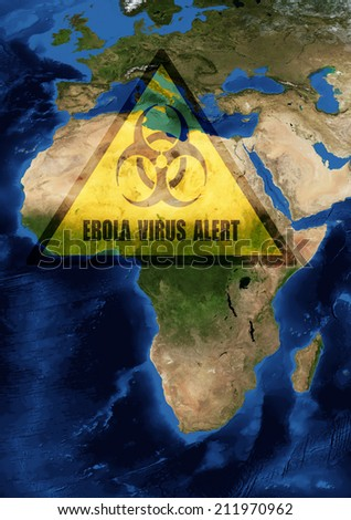 Ebola danger in west Africa.Elements of this image furnished by NASA. - stock photo