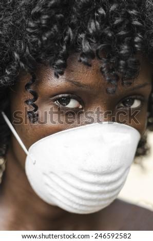 Ebola Outbreak in Africa - Portrait of Black Doctor - stock photo