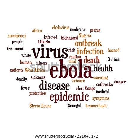 Ebola virus word cloud on white background. - stock photo