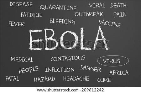 Ebola word cloud written on a chalkboard - stock photo