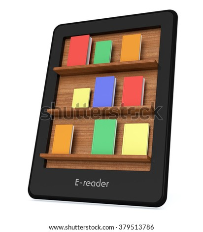 ebook reader with a book shelf on the screen and some colorful books (3d render) - stock photo