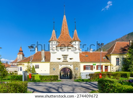Ecaterina Gate was built for the access of Romanians from Schei district in the fortress of Brasov. The german name was Ekaterinentor. - stock photo