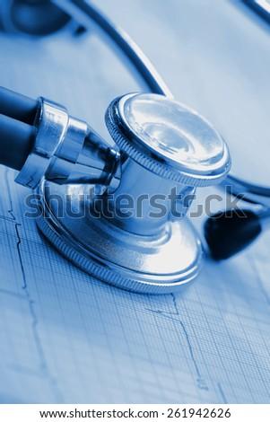 ECG and stethoscope concept diagnostic in monochrome - stock photo