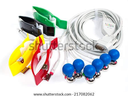 ECG Electrodes And Cable isolated over white
