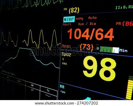 ECG monitor in intensive care - stock photo