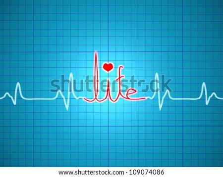 ECG showing life - stock photo