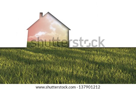 echo house metaphor made in 3d software - stock photo