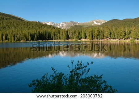 Echo Lake at Mount Evans in Colorado in early morning. - stock photo