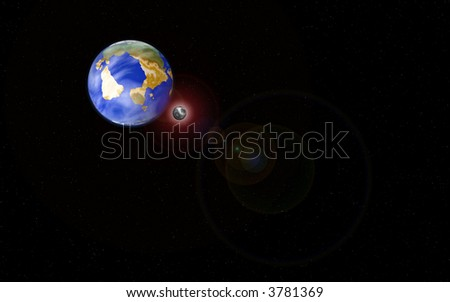 Eclipse (a view with our planet, moon and sun) - stock photo
