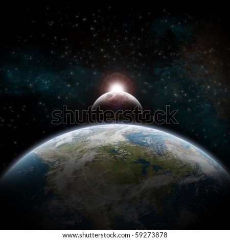 Eclipse of the sun over USA. - stock photo