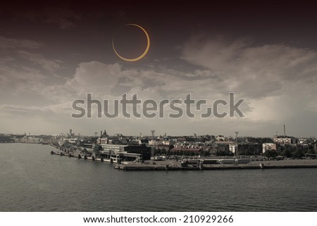 eclipse of the sun. picturesque and very beautiful HDR photos Helsinki. Elements of this image furnished by NASA - stock photo