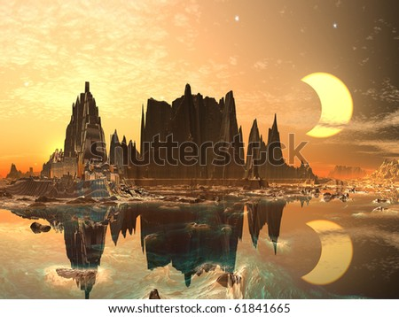 Eclipse over Golden Alien City - stock photo
