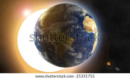 Eclipse simulation over Earth - computer generated - stock photo