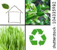 Eco architecture and environmental protection collage - stock photo