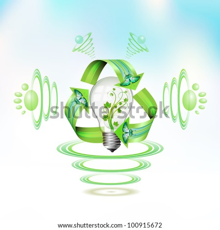 Eco bulb character suspended with waves on blue background