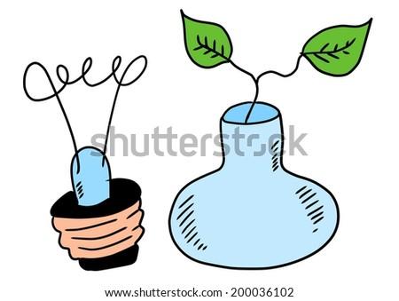 eco bulb doodle - stock photo
