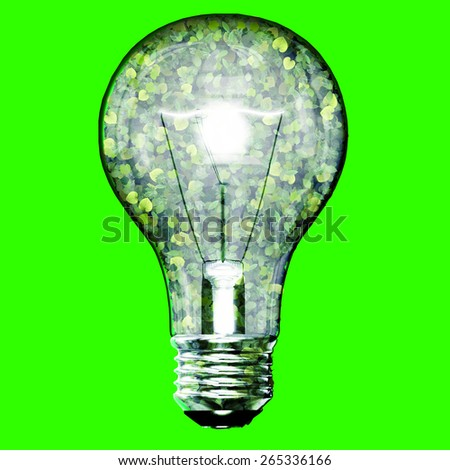 Eco bulb made from green leaves isolated on green background. 3D render. - stock photo