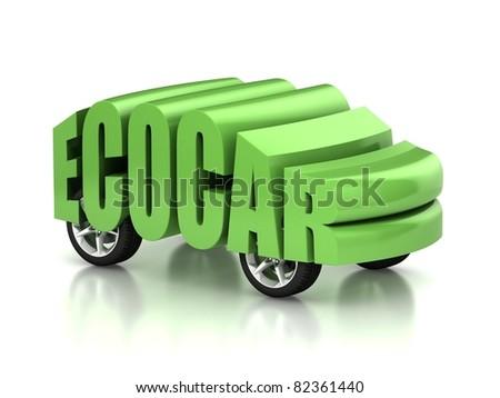eco car 3d concept - stock photo