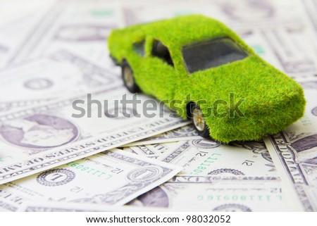 Eco car icon ,save money concept - stock photo