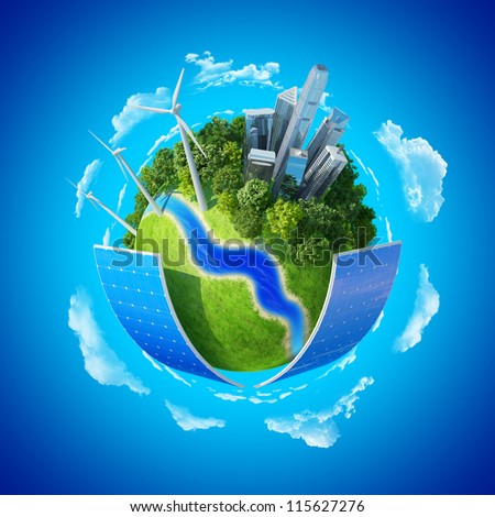 Eco City concept. Ecology Little tiny planets collection. - stock photo