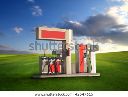 eco concept: gas station in a grass field - stock photo