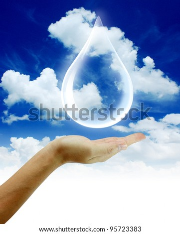 Eco concept : Hand hold water drop 0n blue sky background - stock photo