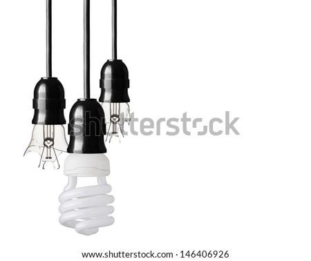 Eco concept with energy saver bulb - stock photo