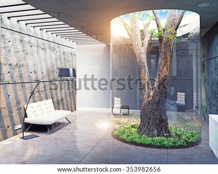eco design of the modern  interior. Real tree indoor. 3d concept - stock photo