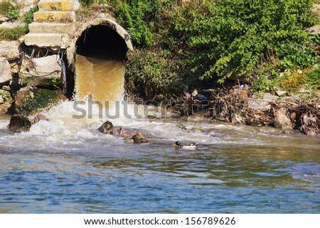 Eco disaster, polluting the river. River Vardar, Skopje, Macedonia - stock photo