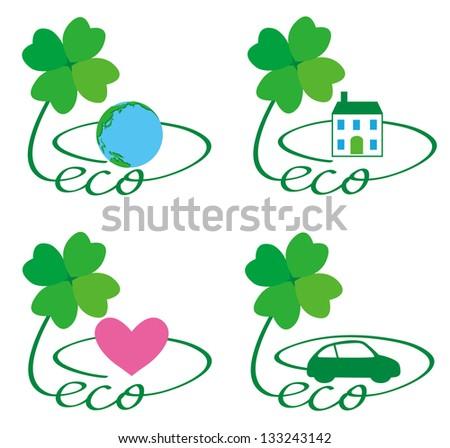 eco earth house  heart car - stock photo