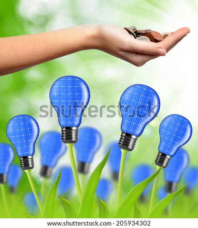 eco energy bulb from solar panels and coins in hand - stock photo