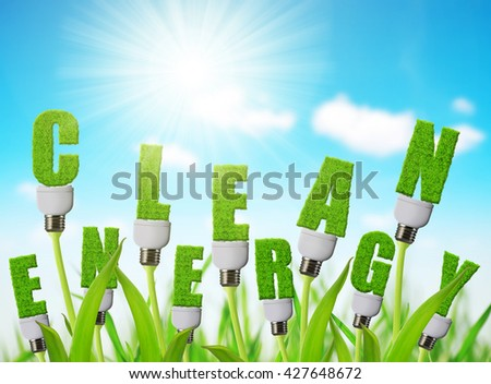 Eco energy bulb growing on plant. Clean energy concept. - stock photo