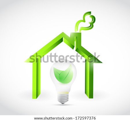 eco energy home illustration design over a white background - stock photo