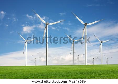 Eco energy - wind turbines - stock photo
