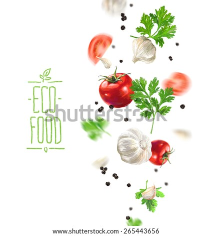 Eco food vegetable composition illustration