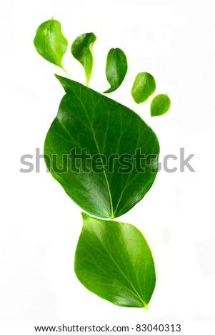 Eco footprint over white background