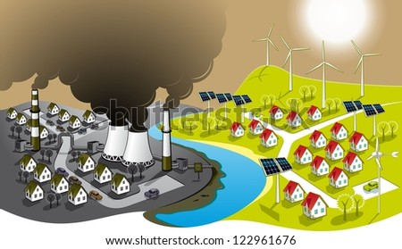 Eco-friendly city. Illustration of two cities - dirty and clean renewable energy. - stock photo