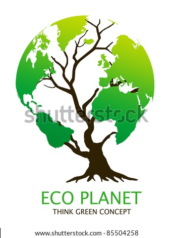 "Eco-friendly ""earth tree"" illustration. Green environment concept - stock photo"