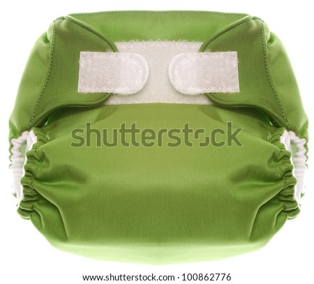 Eco Friendly Green Cloth Diaper with Hook and Loop Closure Isolated on White. - stock photo