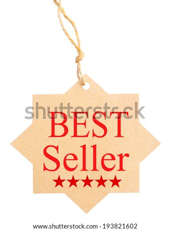 Eco friendly label. Best seller, isolated on white background, clipping path. - stock photo