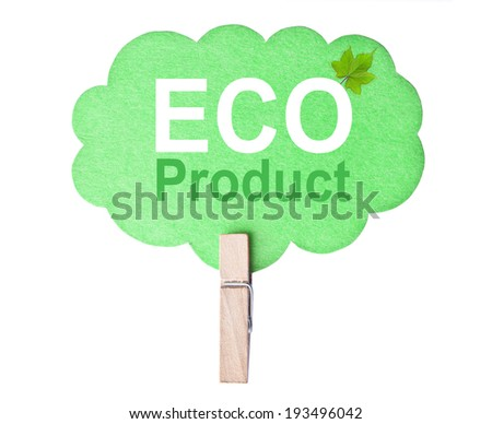 Eco friendly label. Eco product, isolated on white background, clipping path. - stock photo