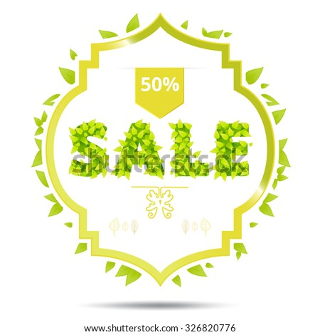 Eco Friendly label. Green leaves.  illustration. Green leaves with sale font. Sale banner with green hand drawn leaves. Fresh spring advertising graphic - stock photo