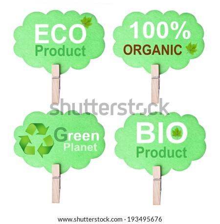 Eco friendly label, isolated on white background, clipping path. eco friendly concept - stock photo